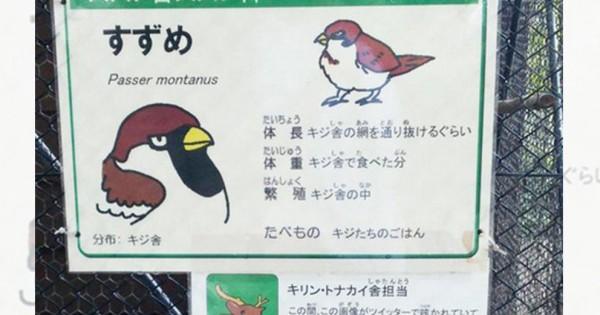 スズメの扱い雑すぎるだろ!(笑) 飼育員さんの「動物の紹介文」が笑いのセンスに溢れている10選