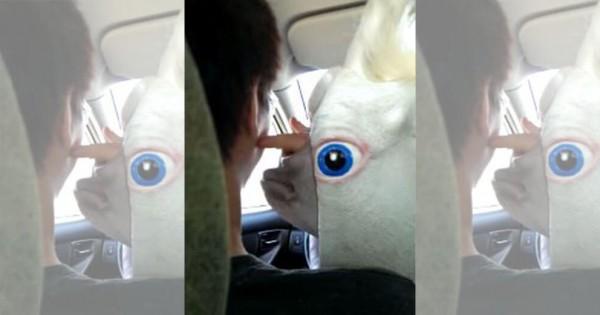 その生き物は何だよ?!(笑) 車の中で友達が被り物つけて笑わせてくる