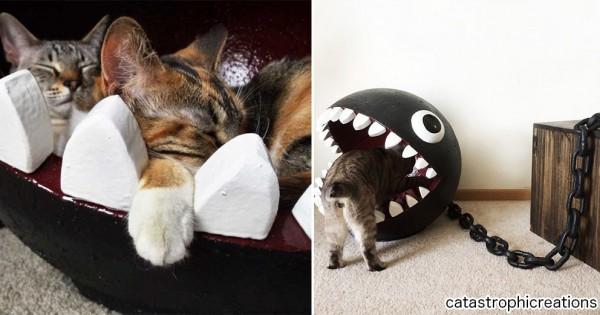 すっぽりハマって幸せそう!(笑) マリオのキャラ「ワンワン」が猫用ベッドになった