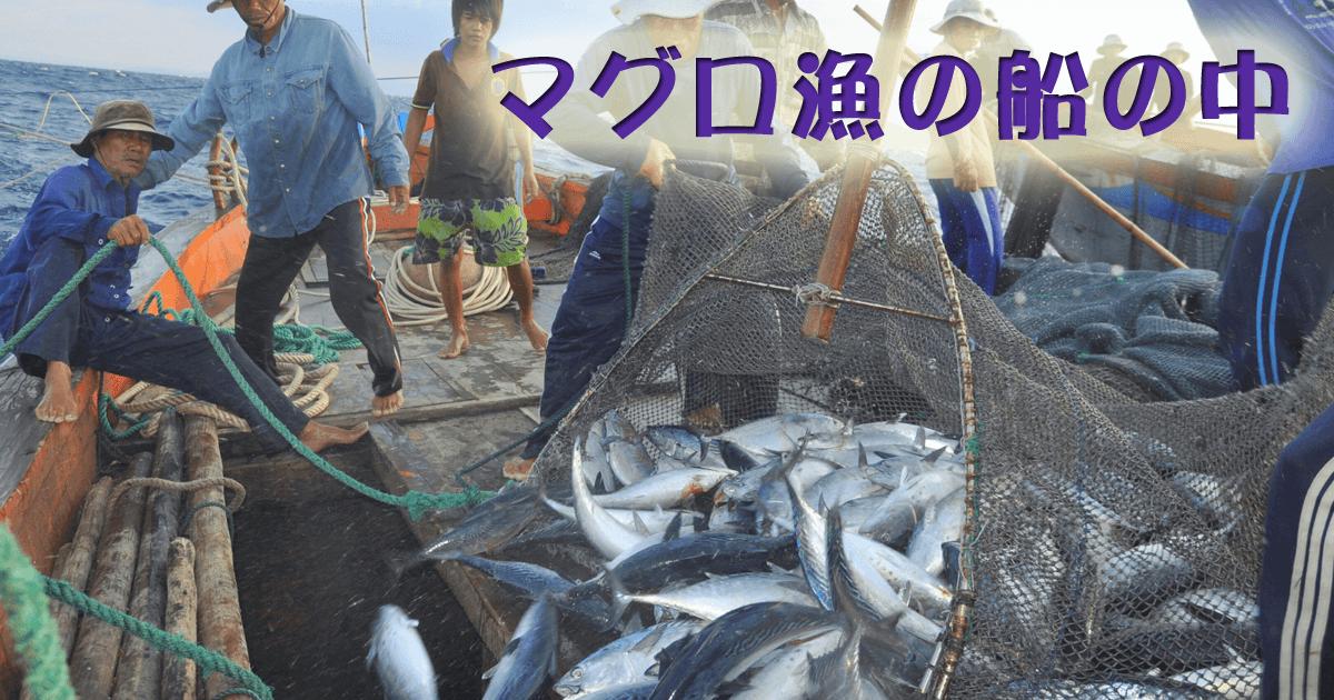 マグロ漁の船の中