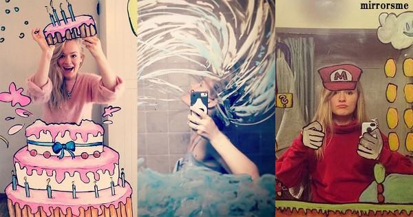 オシャレすぎる自撮り!鏡にイラストを描いた「ミラーアート」に世界が絶賛