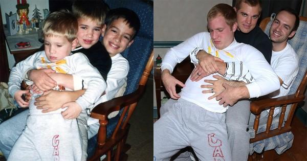 子供時代の写真を大人になった3人兄弟が再現!母親への素敵な贈り物にほっこり