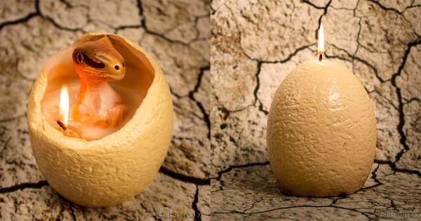太古の世界からこんにちは。点火すると恐竜が生まれる「卵キャンドル」が最高にリアル!