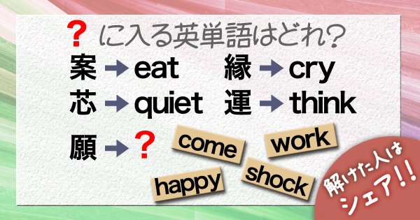 Q.「?」に入る英単語はどれ?