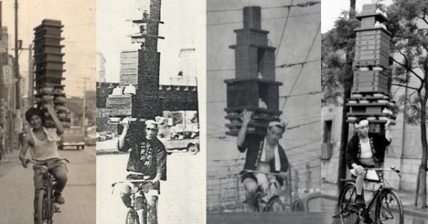 まさに職人技!どんだけ積むの…昭和のそば屋の出前が常軌を逸っしたテクニックすぎる!