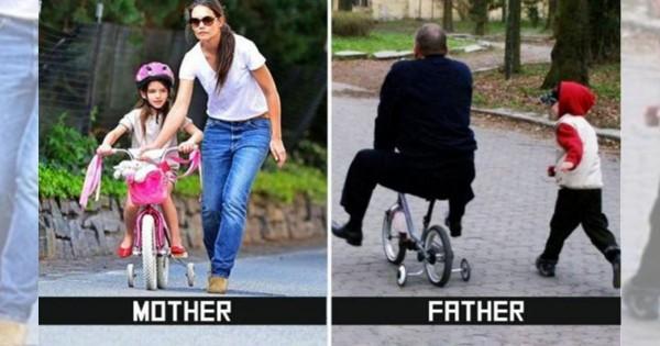 父親と母親の子育ての違いを描いた10枚の比較写真に男性の冷や汗が止まらないと話題に
