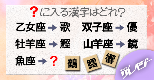 Q.「?」に入る漢字はどれ?