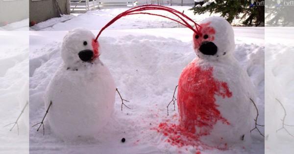 【閲覧注意】悪ふざけが生み出した「えげつない雪だるま」14選