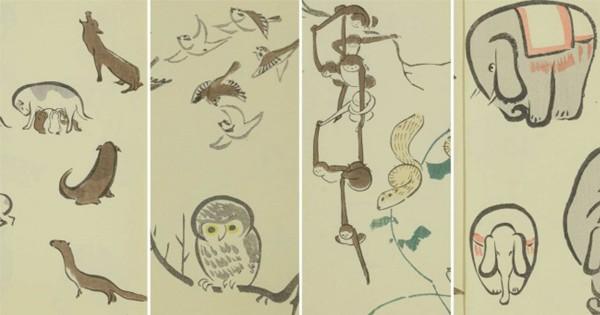 ゆるカワ炸裂だ〜!葛飾北斎に真似された男、北尾政美の「鳥獣略画式」の可愛さよ!
