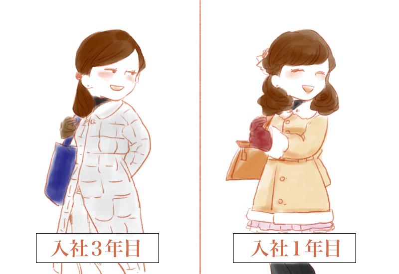 ②通勤服は段々適当になっていく