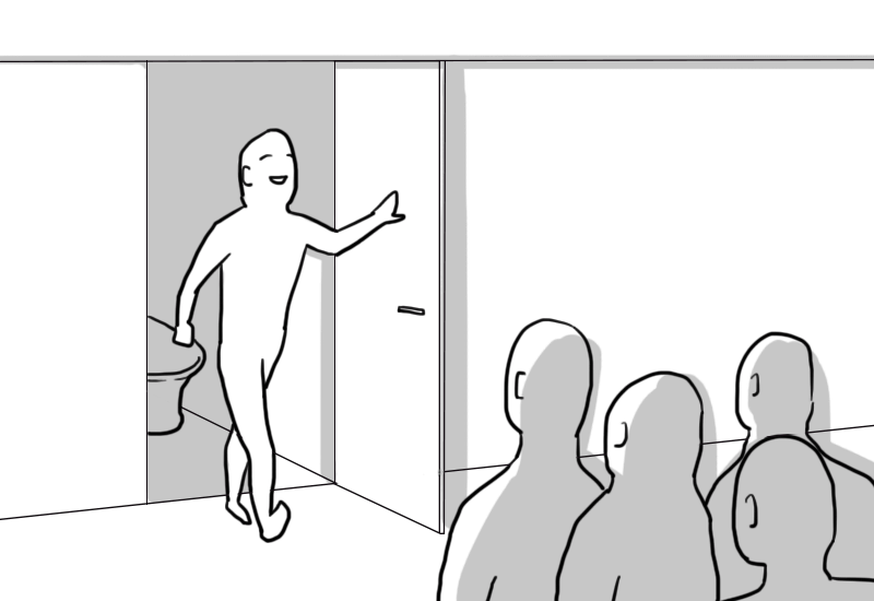 ⑬個室トイレと列