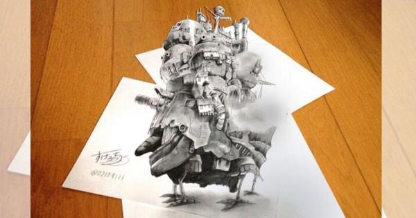 【ハウルの城の立体感ヤバイ】ペンだけで描いたイラストの完成度に目を疑う11選