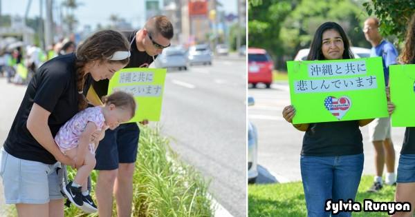 「共に悲しんでいます」沖縄の事件を受けてアメリカ人が街頭に、その姿に心が痛む