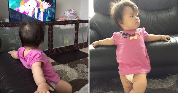 大物評論家か! 生後11か月の女の子、人生初の『となりのトトロ』にオラつく
