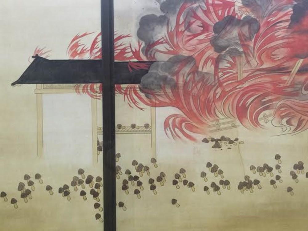 熾烈な戦いを描いた襖絵!でもよく見てみたらキノコ軍とタケノコ軍の戦いだった