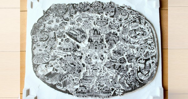 細部までめちゃくちゃ正確!ディズニーランドの形を彫った「消しゴムはんこ」がスゴすぎる