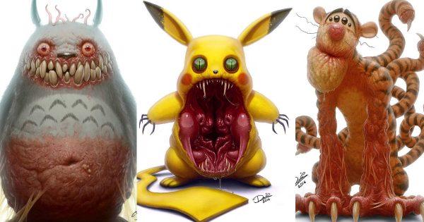 【閲覧注意】子どもは泣き叫ぶ!大人気キャラを怪物風に描いたイラストに背筋が凍る