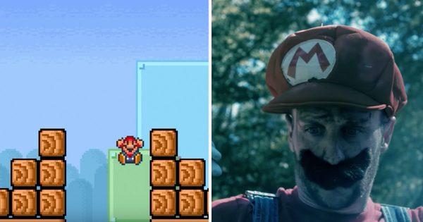マリオが穴に落ちてもゲームは続いてた?! プレイヤーの妄想が実写化されファン大興奮