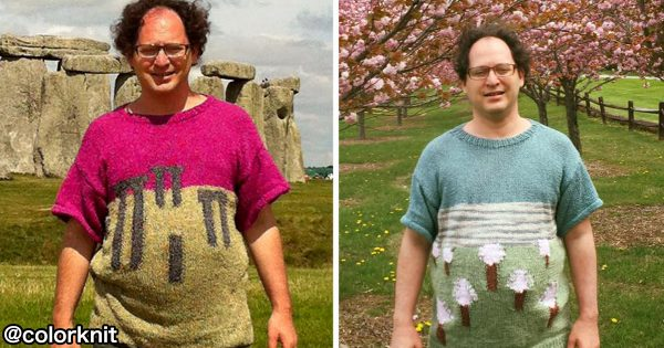 この発想はなかった!おじさんが編む風景そっくりなダサかわセーターに何故か癒される