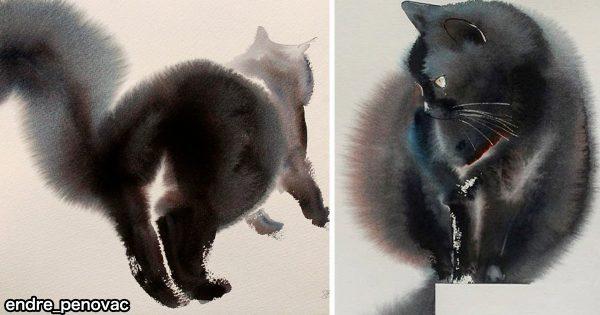 【モフモフ度120%】インクの「にじみ」から生まれる水彩画の黒猫に心が温まる