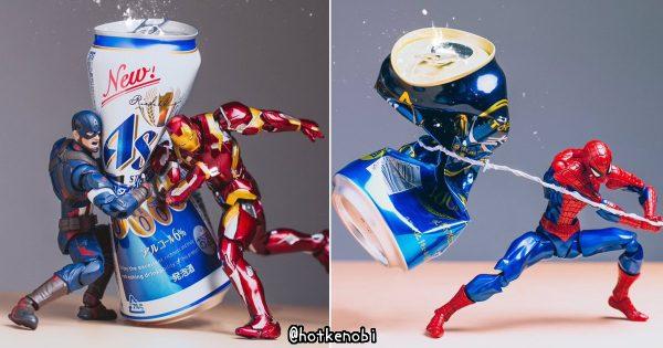 「空き缶は潰して捨てろォォォ!」ヒーローフィギュアを使った迫力満点の缶潰し