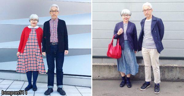 夫婦歴37年!日本人カップルの「ペアルック・コーデ」が超オシャレだと世界で話題に