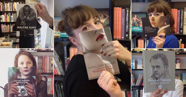 さすがオシャレの本場! フランスの本屋さんによる「ブックフェイス画像」がセンス抜群