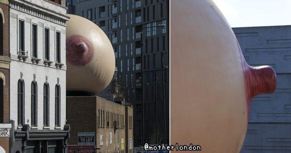 ロンドンに巨大なおっぱい出現! 単なるHな悪ふざけではなく深いメッセージがあった