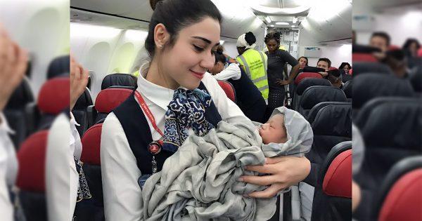 飛行機がコウノトリがわりに!フライト中に生まれた女の子にCAさんたちもほっこり