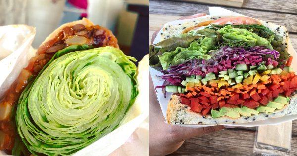 【レタス丸ごとサンド】もはや全く挟みきれてない、アゴ限界サンドイッチ