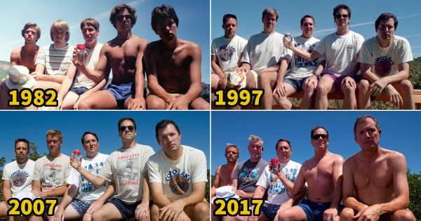 5年ごとに同じ写真を35年! 親友5人組が高校時代から撮り続けている友情写真が最高