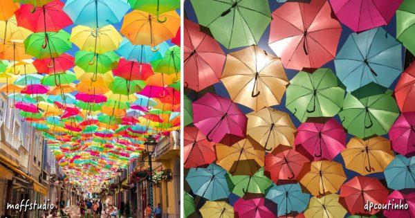 絵本の中に来たみたい!夏空一面を覆う傘祭りにうっとり
