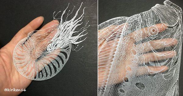 【美しすぎる切り絵】1枚の紙とカッターが生み出す芸術作品のリアルさに感動