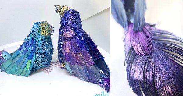 【天才】これ全て紙です!精巧な「鳥の立体切り絵」に目が飛び出る
