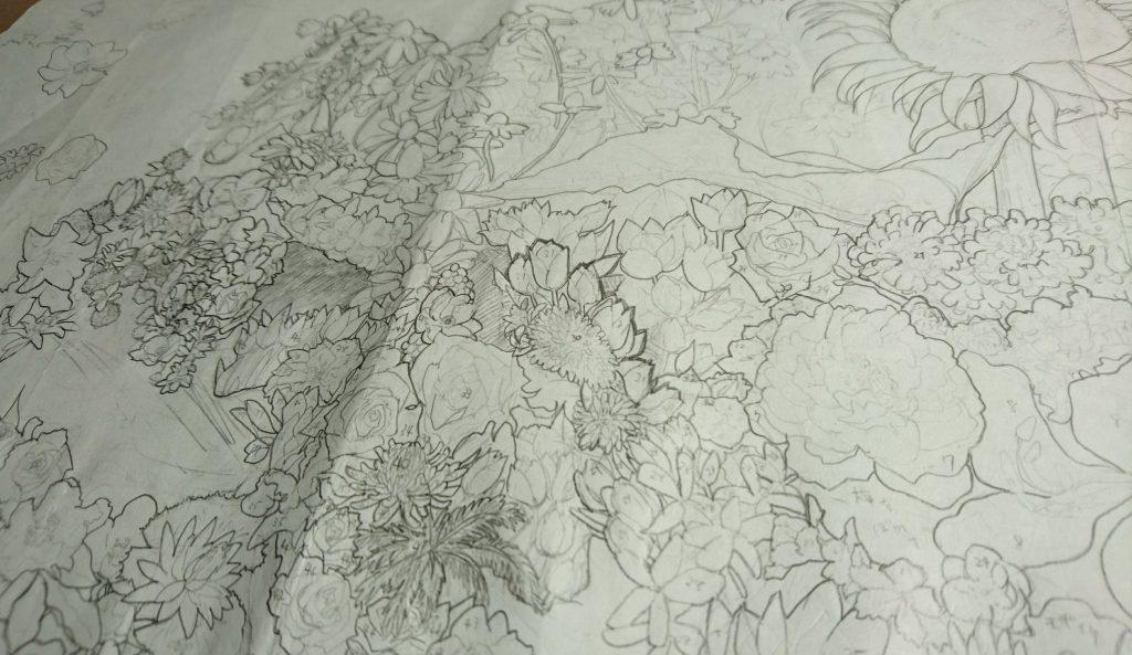 国花で描いた世界地図-min