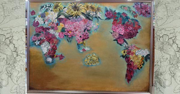 花で描いた世界地図!高校生の作品が世界平和を考えさせる