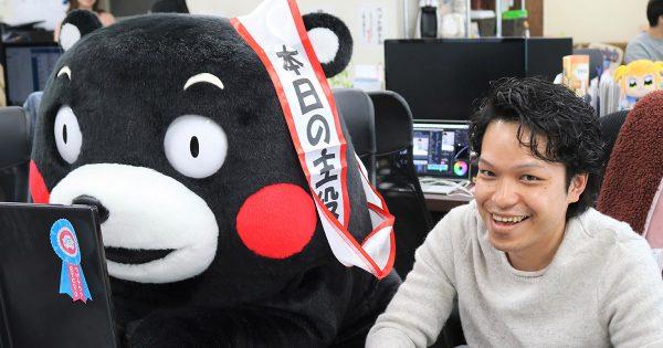 くまモンが編集部に登場!だが熊本の話よりもイタズラに専念する(笑)