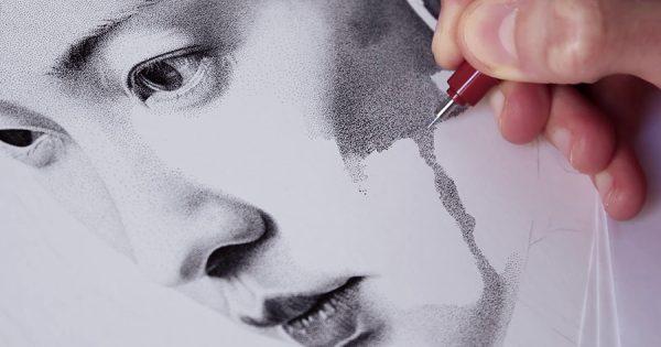 気が遠くなる作業と圧巻のクオリティ!250万個の点で描く肖像画に見惚れる
