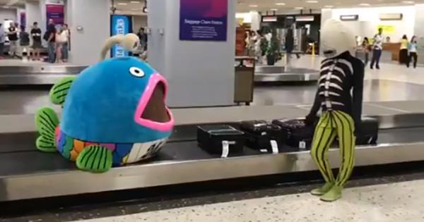 千葉ロッテ「謎の魚」がハワイに到着!空港で巻き起こったシュールな展開に爆笑