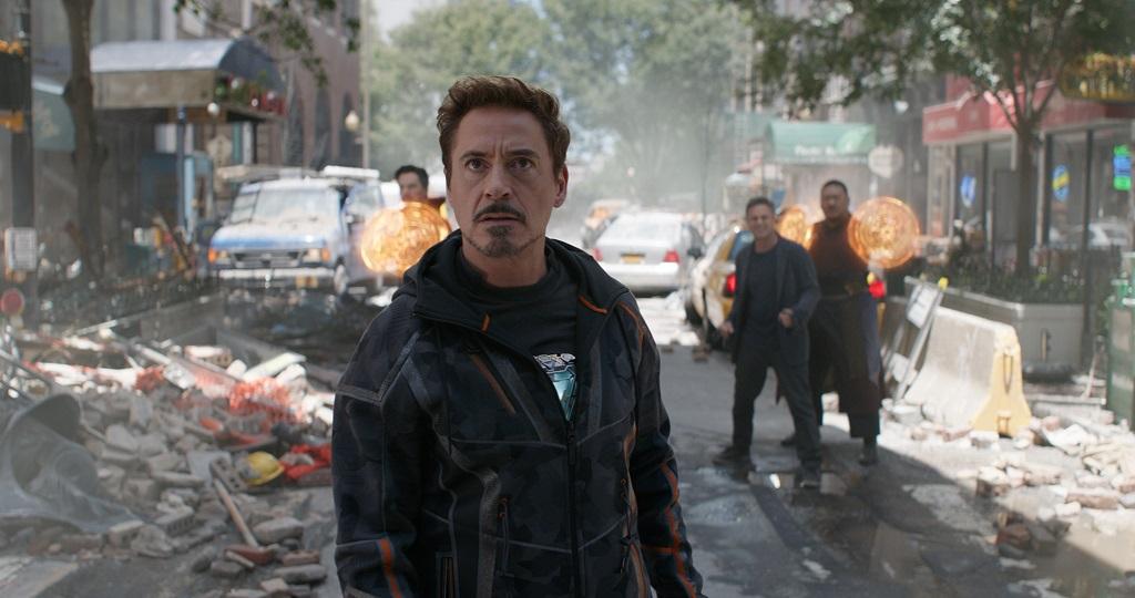 Marvel Studios' AVENGERS: INFINITY WAR..Tony Stark/Iron Man (Robert Downey Jr.) w/ Doctor Strange (Benedict Cumberbatch), Bruce Banner (Mark Ruffalo) and Wong (Benedict Wong) in the background L to R. ..Photo: Film Frame..©Marvel Studios 2018