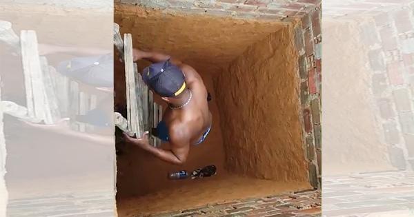 深い穴に落ちてしまった猫!はしごを下ろして助けようとしたら、三角蹴りで自力脱出(笑)
