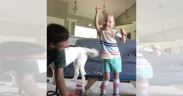 脳性麻痺の手術を受けた4歳の女の子、初めて自らの足で歩く!歓喜する姿に胸が熱くなる