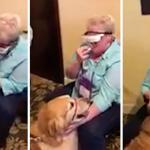 盲目の女性が特殊なメガネを通して、長年支えてくれた盲導犬の顔を初めて見て涙が止まらない