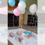 手足に風船を付けた三つ子!赤ちゃんを一人で遊ばせる方法はこれで決まり(笑)