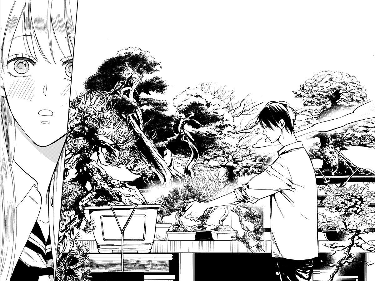 盆栽の世話をする男子高生と女子高生の話07