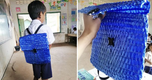 5歳の少年は「父親の手作りランドセル」で登校する