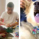 12才の少年は、保護施設の犬猫のために「蝶ネクタイ」を手作りする