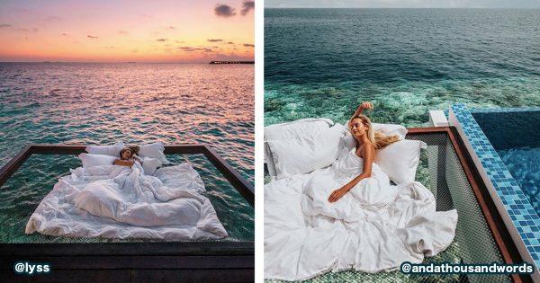 海の上で眠れる「ハンモック付きの水上ヴィラ」がめちゃ尊い