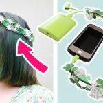 iPhoneケーブルに変身する「花かんむり」が斬新