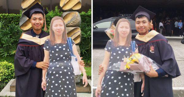 青年は「亡き母のパネル」を持って卒業式に参加した